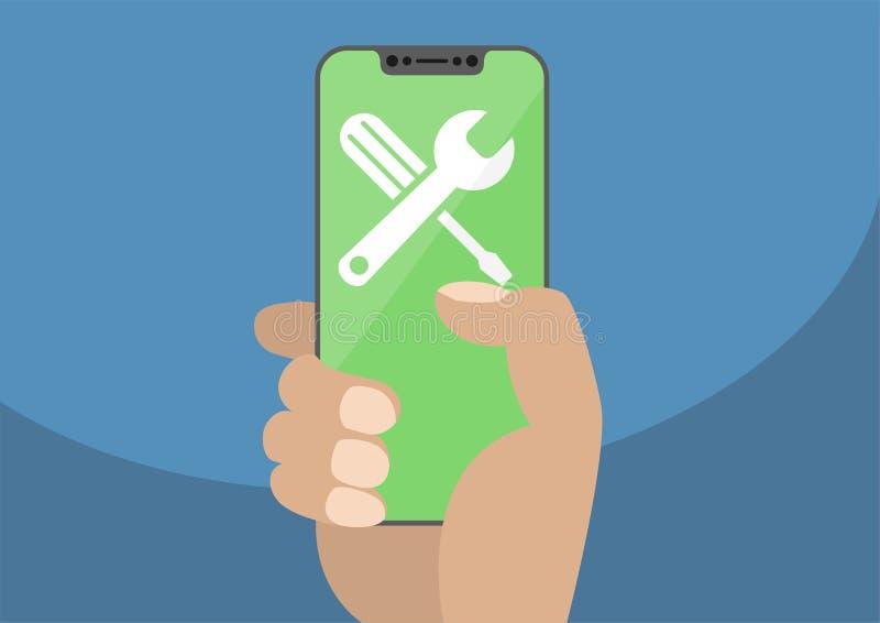 Εικονίδιο γαλλικών κλειδιών και κατσαβιδιών στη σύγχρονη bezel-ελεύθερη/frameless οθόνη επαφής smartphone η εκμετάλλευση χεριών τ απεικόνιση αποθεμάτων