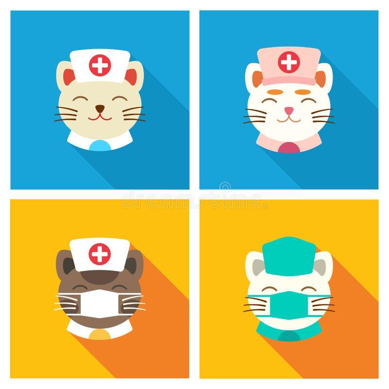 Εικονίδιο γιατρών γατών επίπεδο διανυσματική απεικόνιση