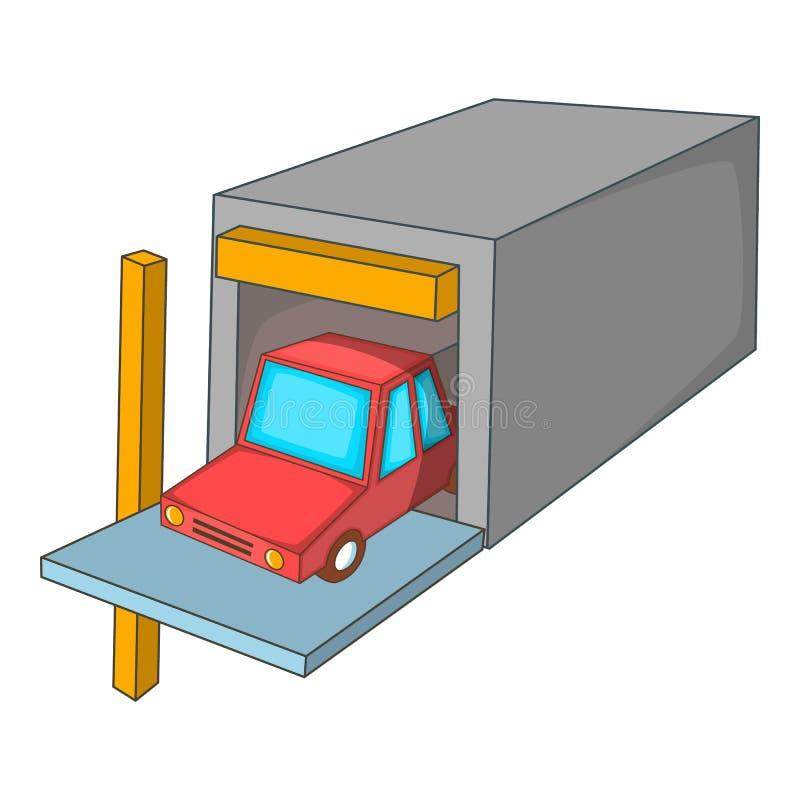 Εικονίδιο γκαράζ αυτοκινήτων, ύφος κινούμενων σχεδίων διανυσματική απεικόνιση