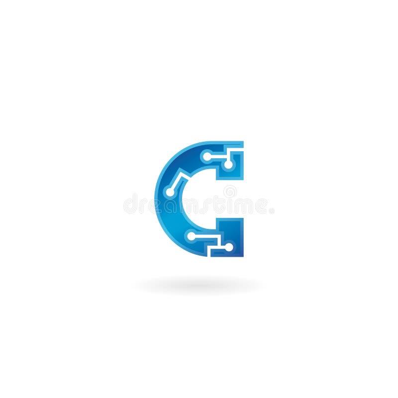 Εικονίδιο γραμμάτων Γ Έξυπνο λογότυπο τεχνολογίας, υπολογιστής και σχετική με τα στοιχεία επιχείρηση, υψηλή τεχνολογία και καινοτ απεικόνιση αποθεμάτων