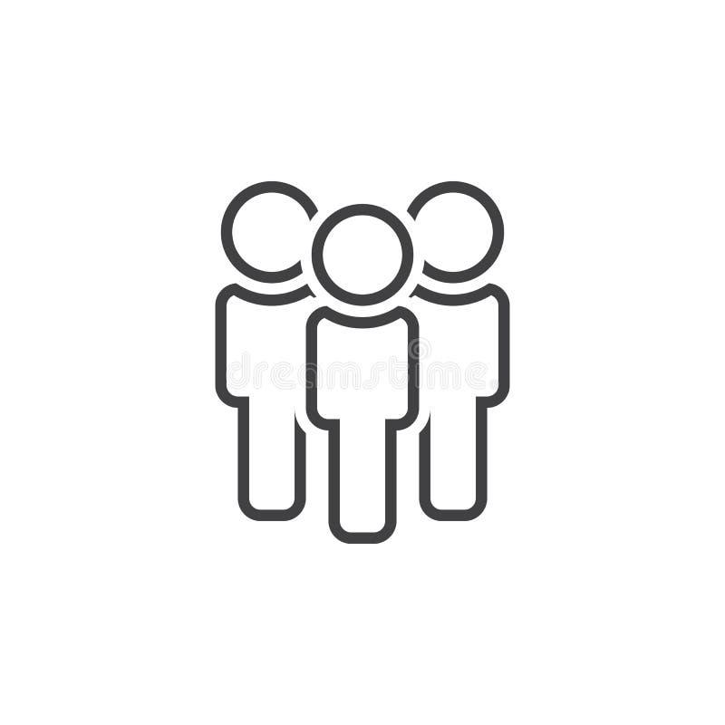 Εικονίδιο γραμμών ανθρώπων, απεικόνιση λογότυπων περιλήψεων ομάδων, γραμμική ελεύθερη απεικόνιση δικαιώματος