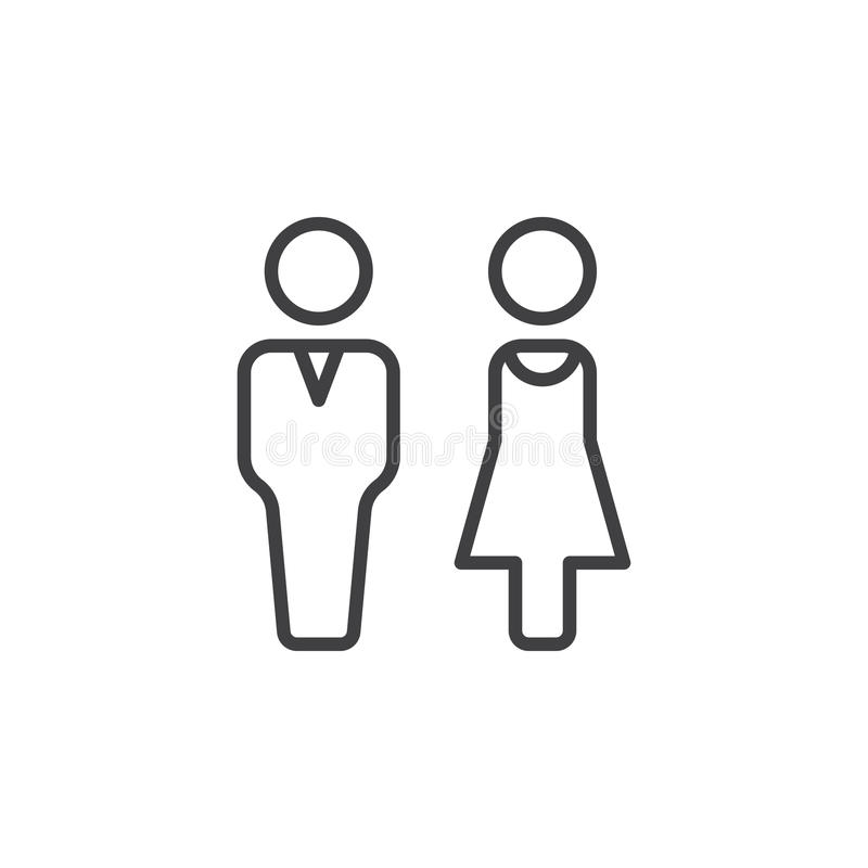 Εικονίδιο γραμμών ανδρών και γυναικών, διανυσματικό σημάδι περιλήψεων, γραμμικό εικονόγραμμα που απομονώνεται στο λευκό ελεύθερη απεικόνιση δικαιώματος