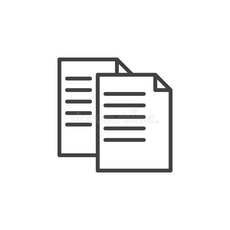 Εικονίδιο γραμμών αρχείων αντιγράφων, διανυσματικό σημάδι περιλήψεων, γραμμικό εικονόγραμμα ύφους που απομονώνεται στο λευκό ελεύθερη απεικόνιση δικαιώματος