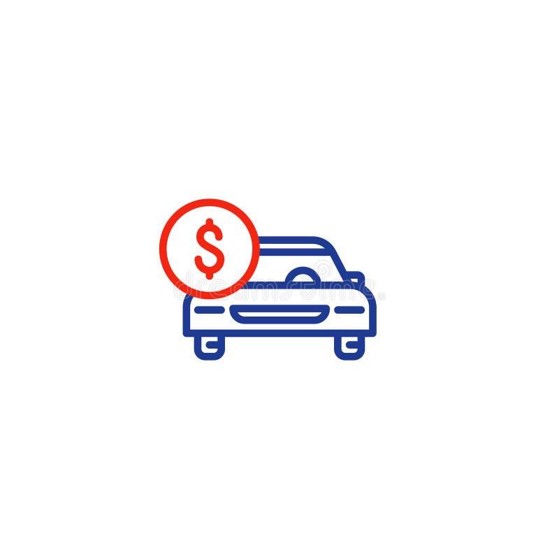 Εικονίδιο γραμμών αυτοκινήτων και νόμισμα δολαρίων, πληρωμή μεταφορών, αυτοκίνητο μισθώματος διανυσματική απεικόνιση