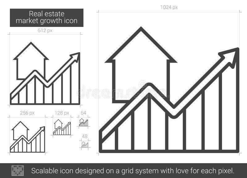 Εικονίδιο γραμμών αύξησης κτηματομεσιτικών αγορών ελεύθερη απεικόνιση δικαιώματος