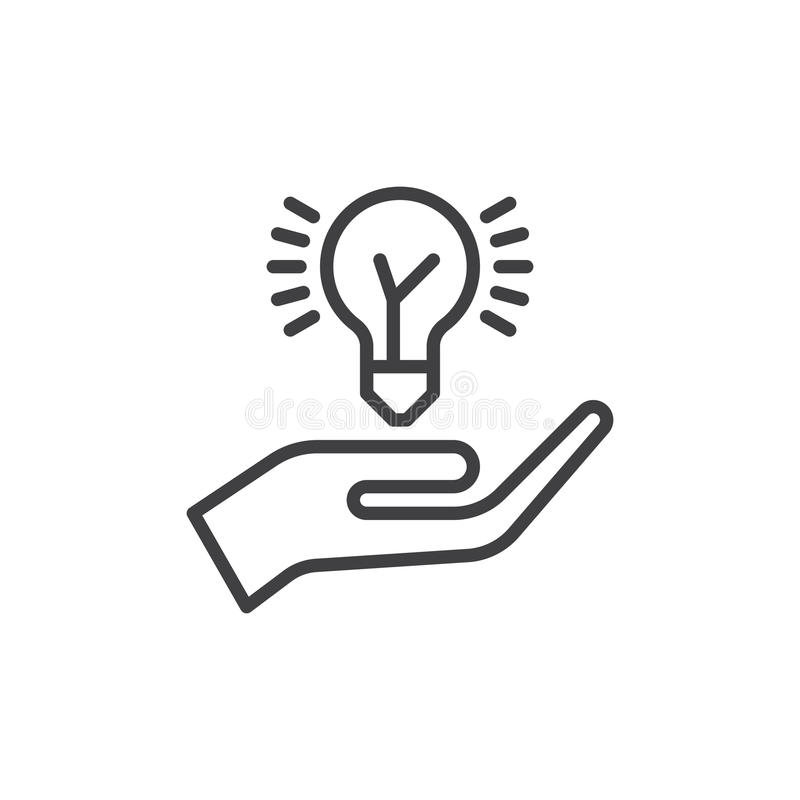 Εικονίδιο γραμμών βολβών ιδέας εκμετάλλευσης χεριών, διανυσματικό σημάδι περιλήψεων, γραμμικό εικονόγραμμα ύφους που απομονώνεται απεικόνιση αποθεμάτων