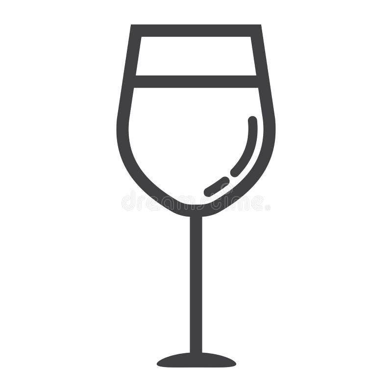 Εικονίδιο γραμμών γυαλιού κρασιού, τρόφιμα και ποτό, σημάδι οινοπνεύματος απεικόνιση αποθεμάτων