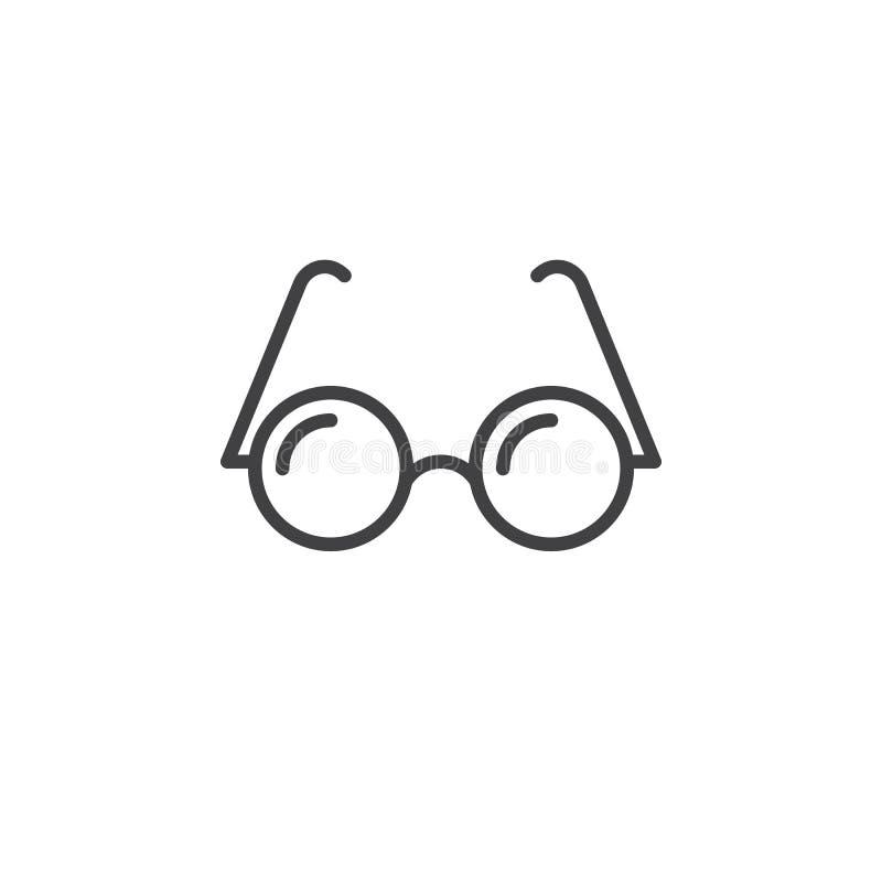 Εικονίδιο γραμμών γυαλιών, διανυσματικό λογότυπο περιλήψεων, γραμμικό εικονόγραμμα ελεύθερη απεικόνιση δικαιώματος