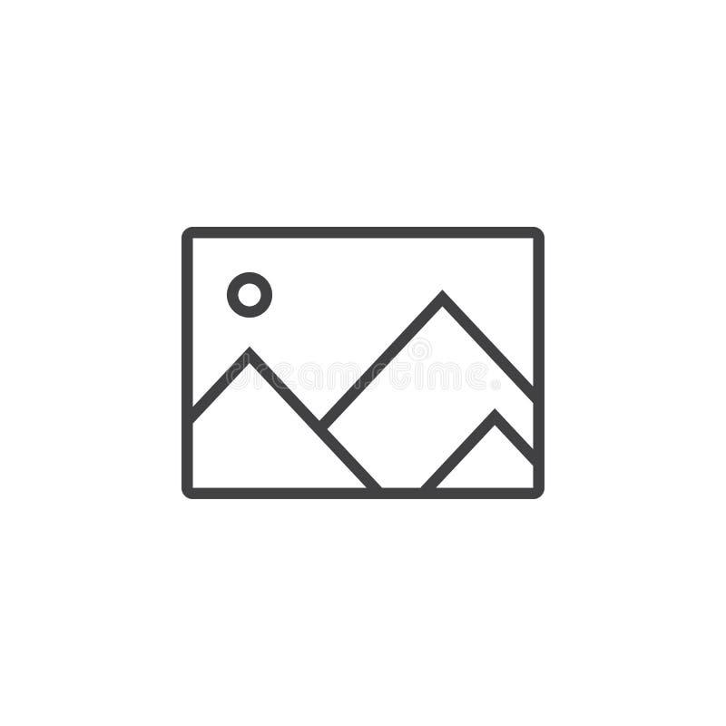 εικονίδιο γραμμών εικόνας, απεικόνιση λογότυπων περιλήψεων εικόνων, linea ελεύθερη απεικόνιση δικαιώματος