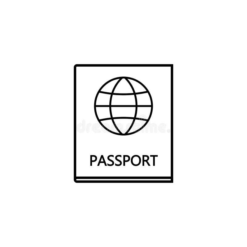 Εικονίδιο γραμμών διαβατηρίων, πολίτης τουρισμού ταξιδιού και ταυτότητα απεικόνιση αποθεμάτων