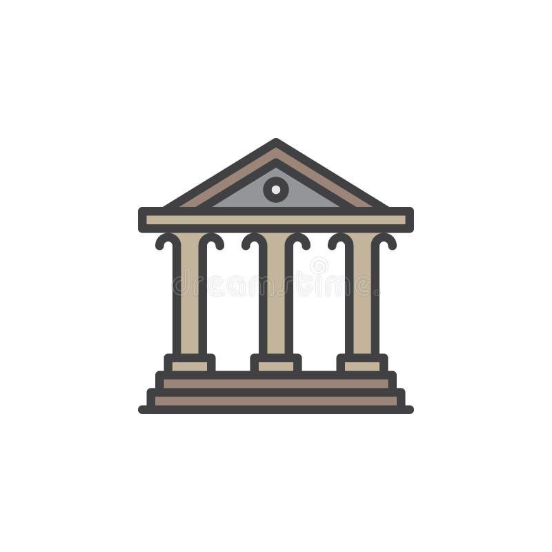 Εικονίδιο γραμμών κτηρίου δικαστηρίου, γεμισμένο διανυσματικό σημάδι περιλήψεων, γραμμικό ζωηρόχρωμο εικονόγραμμα που απομονώνετα ελεύθερη απεικόνιση δικαιώματος