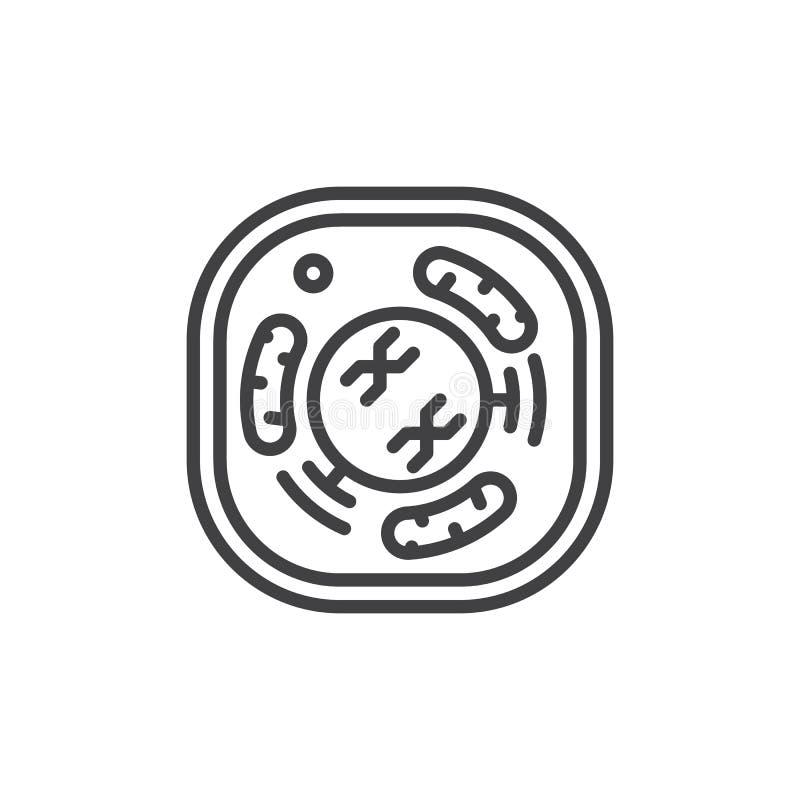 Εικονίδιο γραμμών κυττάρων, διανυσματικό σημάδι περιλήψεων, γραμμικό εικονόγραμμα ύφους που απομονώνεται στο λευκό ελεύθερη απεικόνιση δικαιώματος