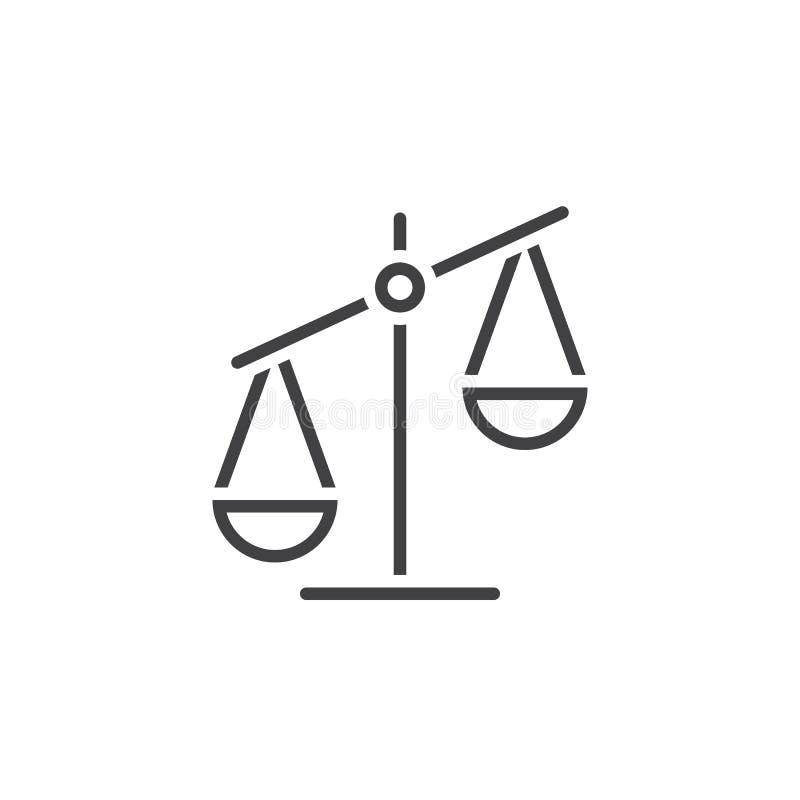 Εικονίδιο γραμμών κλίμακας, διανυσματικό λογότυπο περιλήψεων libra, γραμμικό εικονόγραμμα απεικόνιση αποθεμάτων