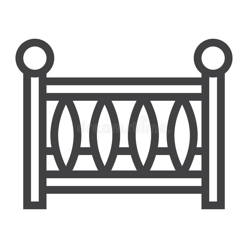 Εικονίδιο γραμμών παχνιών μωρών, κούνια μωρών και κρεβάτι απεικόνιση αποθεμάτων