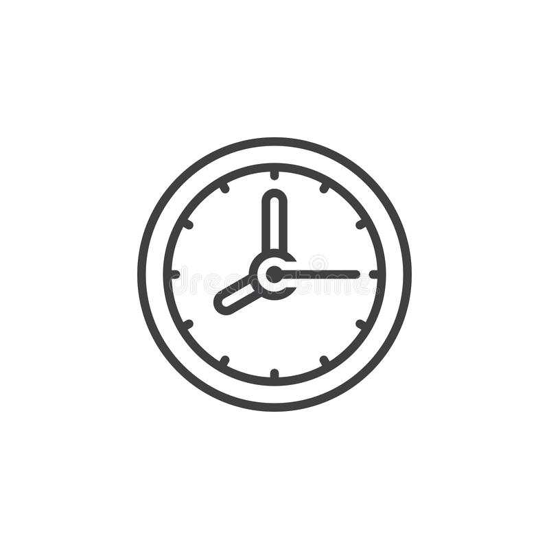 Εικονίδιο γραμμών ρολογιών, διανυσματικό σημάδι περιλήψεων, γραμμικό εικονόγραμμα που απομονώνεται απεικόνιση αποθεμάτων