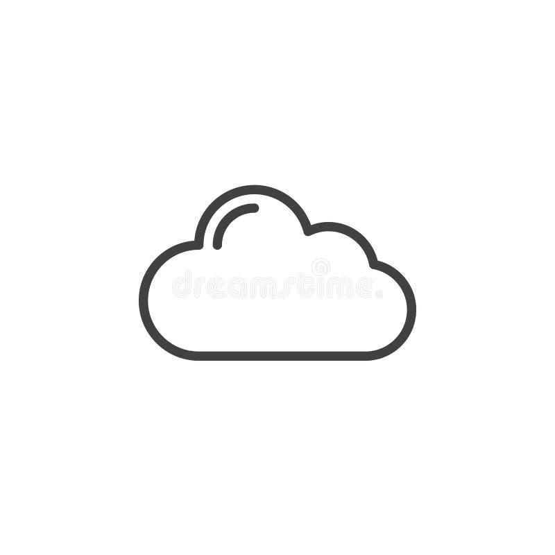 Εικονίδιο γραμμών σύννεφων, διανυσματικό σημάδι περιλήψεων, γραμμικό εικονόγραμμα ύφους που απομονώνεται στο λευκό απεικόνιση αποθεμάτων