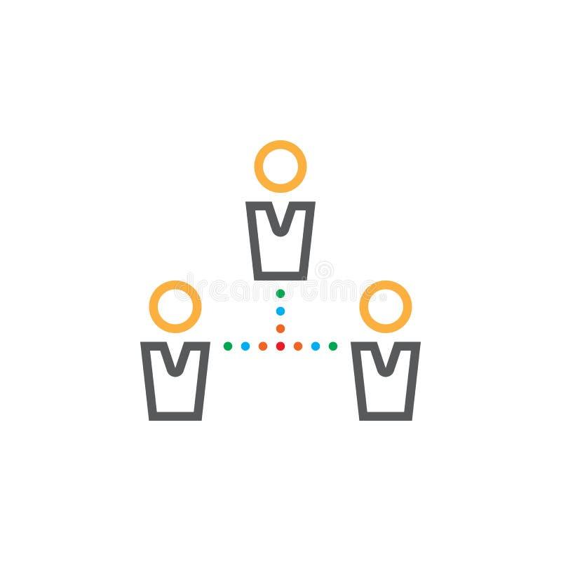 Εικονίδιο γραμμών σύνδεσης ανθρώπων, διανυσματικό λογότυπο ομάδων περιλήψεων, γραμμικό απεικόνιση αποθεμάτων