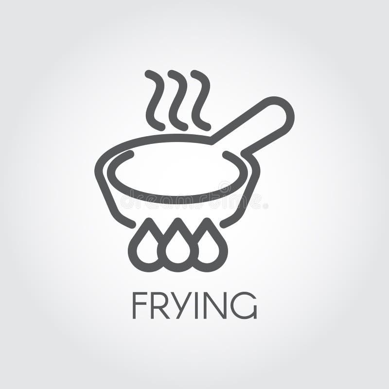 Εικονίδιο γραμμών του τηγανίσματος του τηγανιού με τον ατμό hob Γραφικός μαγειρικός, σημάδι περιλήψεων ψητού διάνυσμα απεικόνιση αποθεμάτων