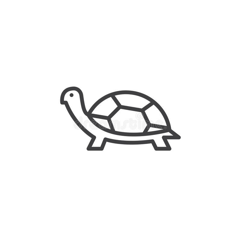 Εικονίδιο γραμμών χελωνών, διανυσματικό σημάδι περιλήψεων διανυσματική απεικόνιση