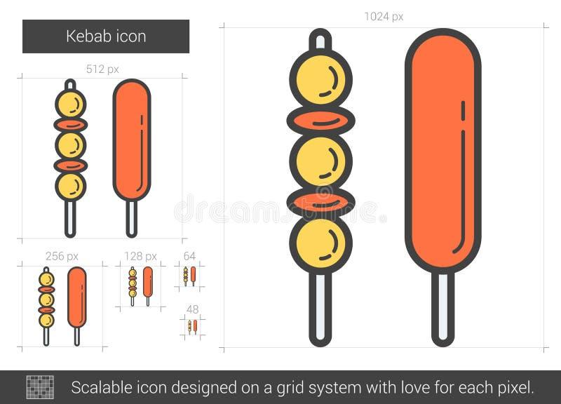 Εικονίδιο γραμμών Kebab διανυσματική απεικόνιση