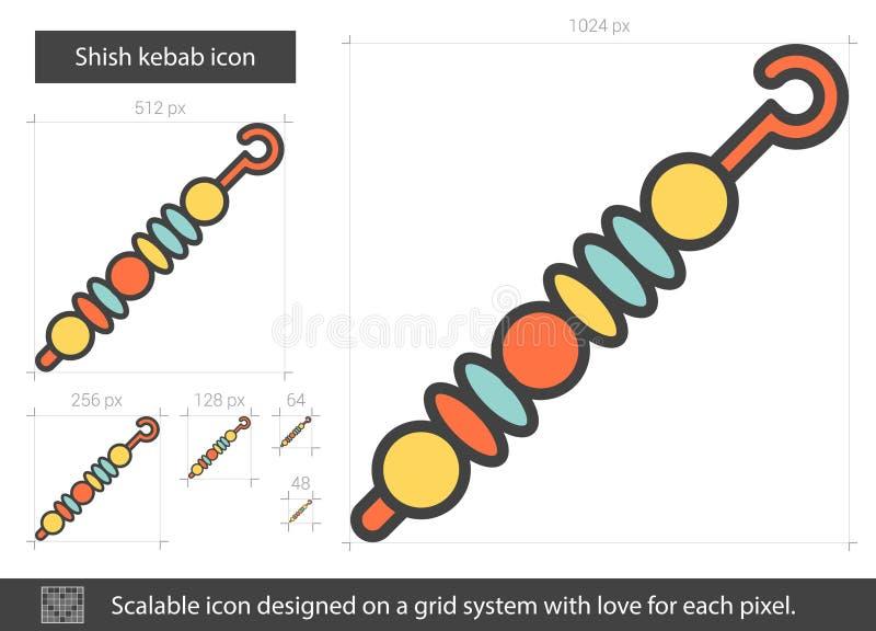 Εικονίδιο γραμμών Shish kebab διανυσματική απεικόνιση