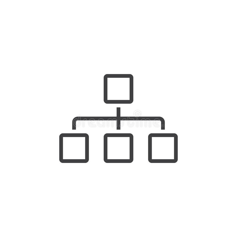 Εικονίδιο γραμμών Sitemap, λογότυπο περιλήψεων διαγραμμάτων, γραμμικό εικονόγραμμα ι διανυσματική απεικόνιση