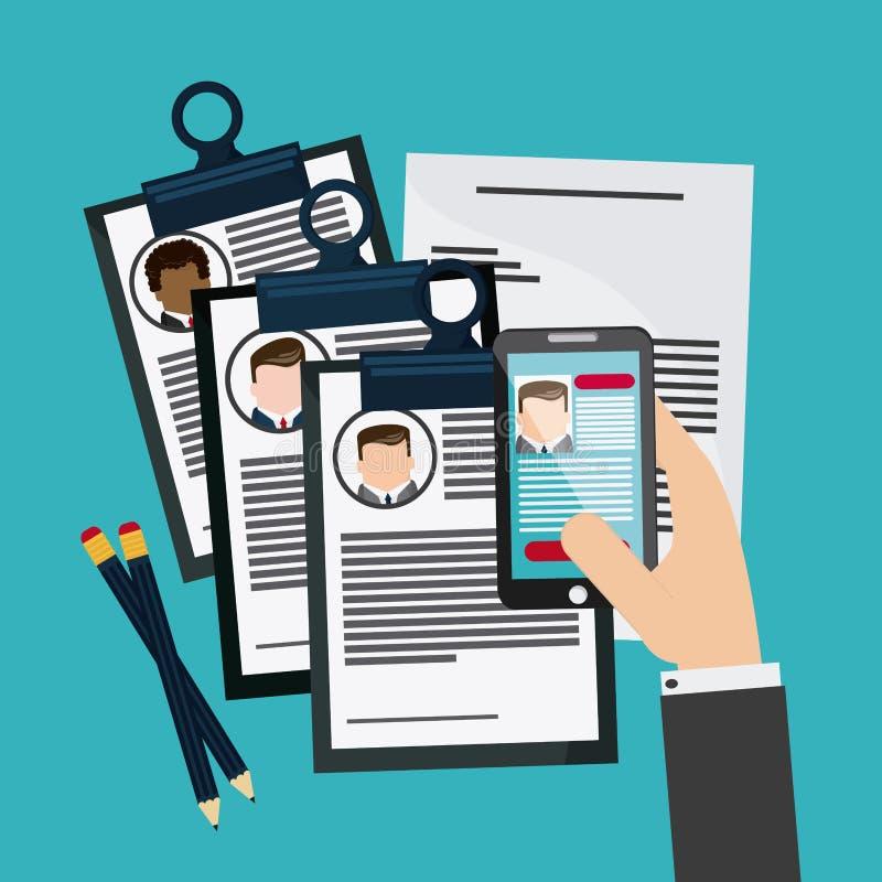 Εικονίδιο εγγράφων βιογραφικού σημειώματος μανδρών smartphone επιχειρηματιών διανυσματική απεικόνιση