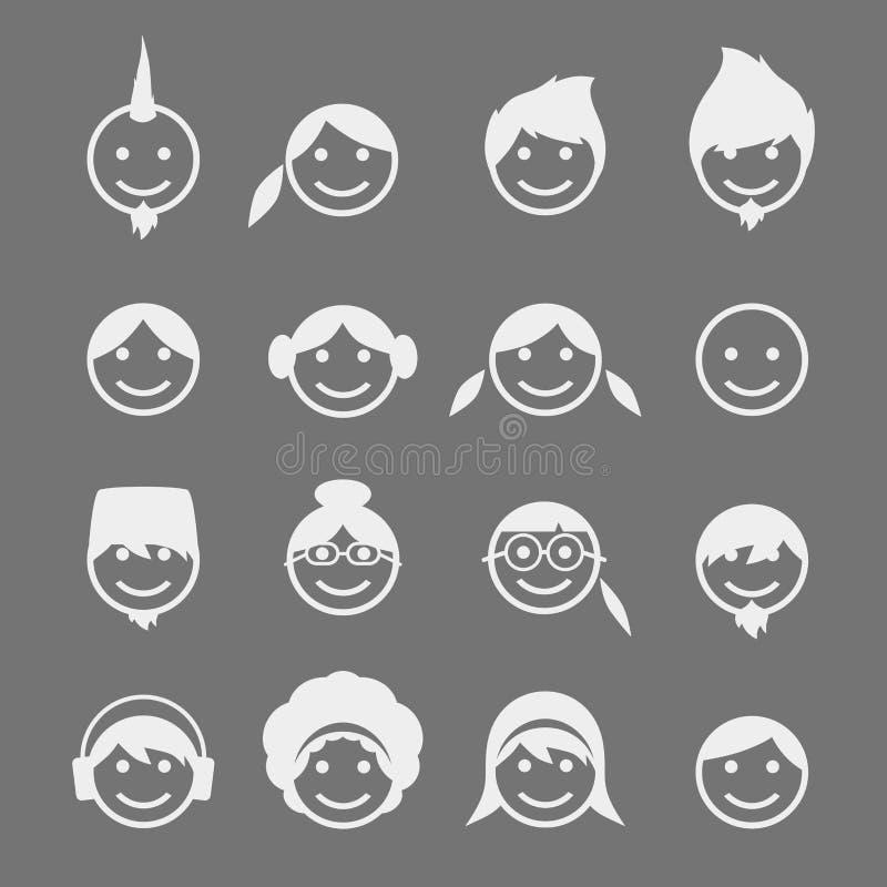 Download Εικονίδιο εικόνων πορτρέτου ειδώλων Διανυσματική απεικόνιση - εικονογραφία από πρόσωπο, απεικόνιση: 62712094