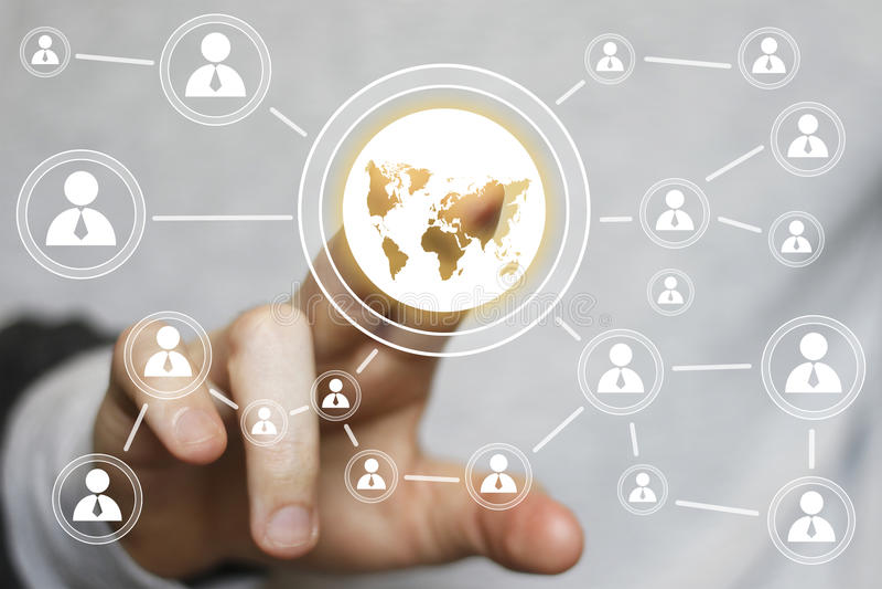 Εικονίδιο επικοινωνίας χαρτών Ιστού κουμπιών αφής επιχειρηματιών διανυσματική απεικόνιση