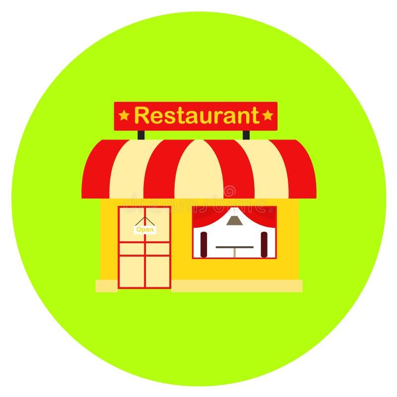 Εικονίδιο εστιατορίων στο καθιερώνον τη μόδα επίπεδο ύφος που απομονώνεται στο γκρίζο υπόβαθρο Οικοδόμηση του συμβόλου για το σχέ στοκ φωτογραφία