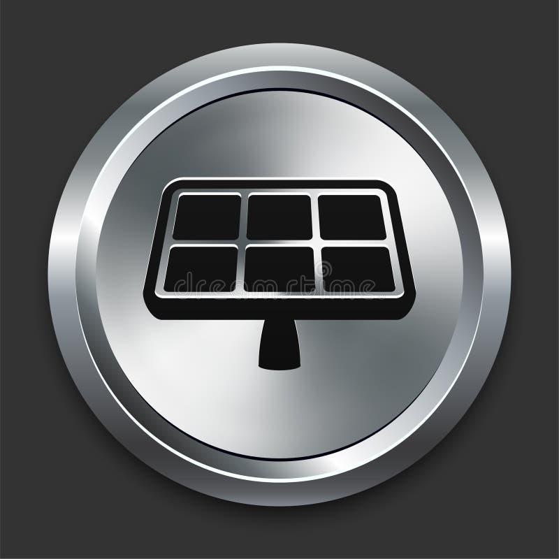Εικονίδιο ηλιακού πλαισίου στη μεταλλική συλλογή κουμπιών στοκ φωτογραφία με δικαίωμα ελεύθερης χρήσης