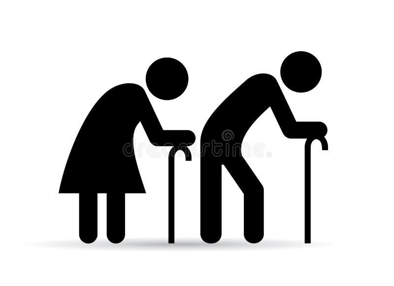Εικονίδιο ηλικιωμένου ανθρώπου διανυσματική απεικόνιση
