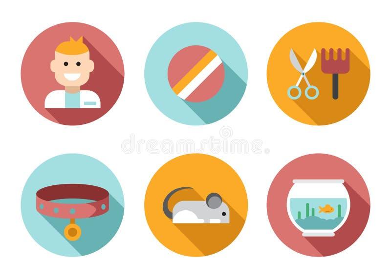 Εικονίδιο η καθορισμένη Pet, κτηνίατρος, κατάστημα Ιστού της Pet διανυσματική απεικόνιση