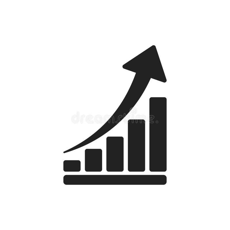 Εικονίδιο διαγραμμάτων αύξησης Αυξηθείτε την επίπεδη διανυσματική απεικόνιση διαγραμμάτων Busine απεικόνιση αποθεμάτων