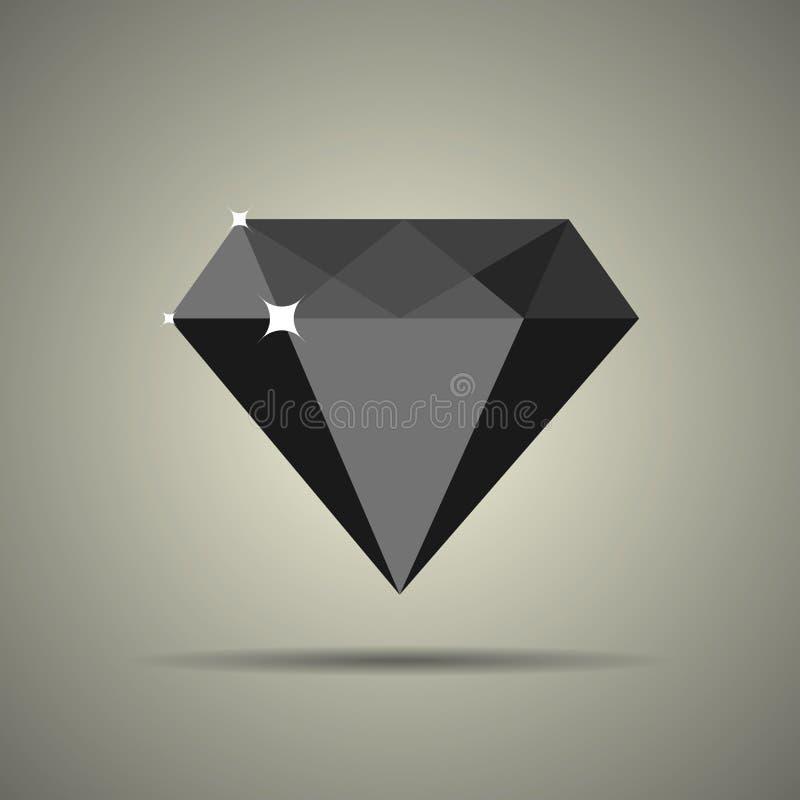 Εικονίδιο διαμαντιών στο επίπεδο ύφος διανυσματική απεικόνιση
