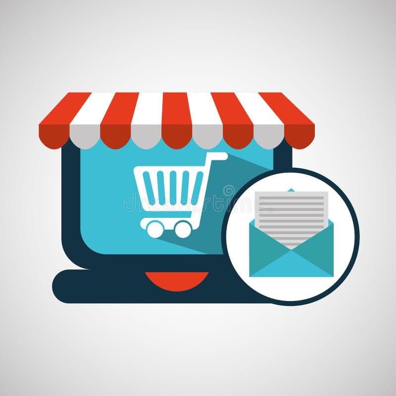 Εικονίδιο κάρρων ηλεκτρονικού ταχυδρομείου έννοιας ηλεκτρονικού εμπορίου απεικόνιση αποθεμάτων