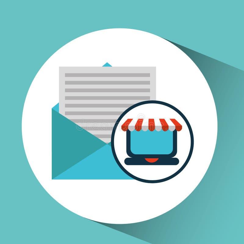 Εικονίδιο κάρρων ηλεκτρονικού ταχυδρομείου έννοιας ηλεκτρονικού εμπορίου διανυσματική απεικόνιση