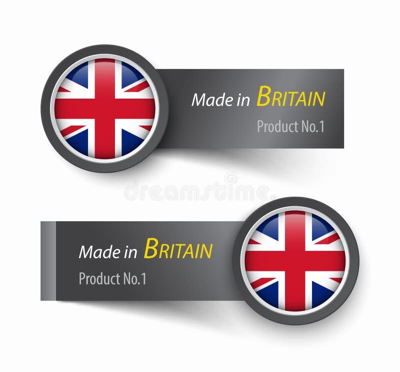 Εικονίδιο και ετικέτα σημαιών με το κείμενο που κατασκευάζεται Βασίλειο της Μεγάλης Βρετανίας ελεύθερη απεικόνιση δικαιώματος