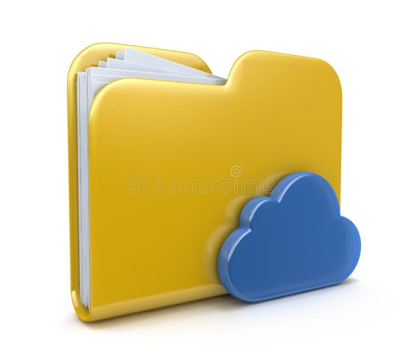 Εικονίδιο και σύννεφο φακέλλων διανυσματική απεικόνιση