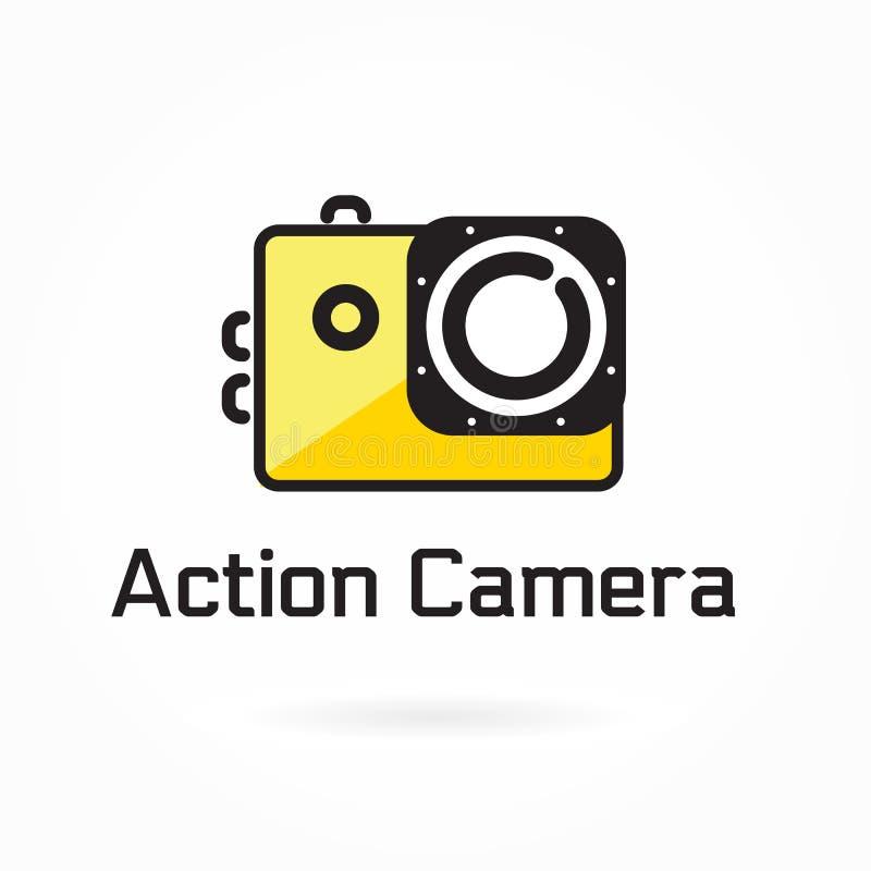 Εικονίδιο καμερών δράσης, διανυσματική απεικόνιση, στοιχείο λογότυπων απεικόνιση αποθεμάτων