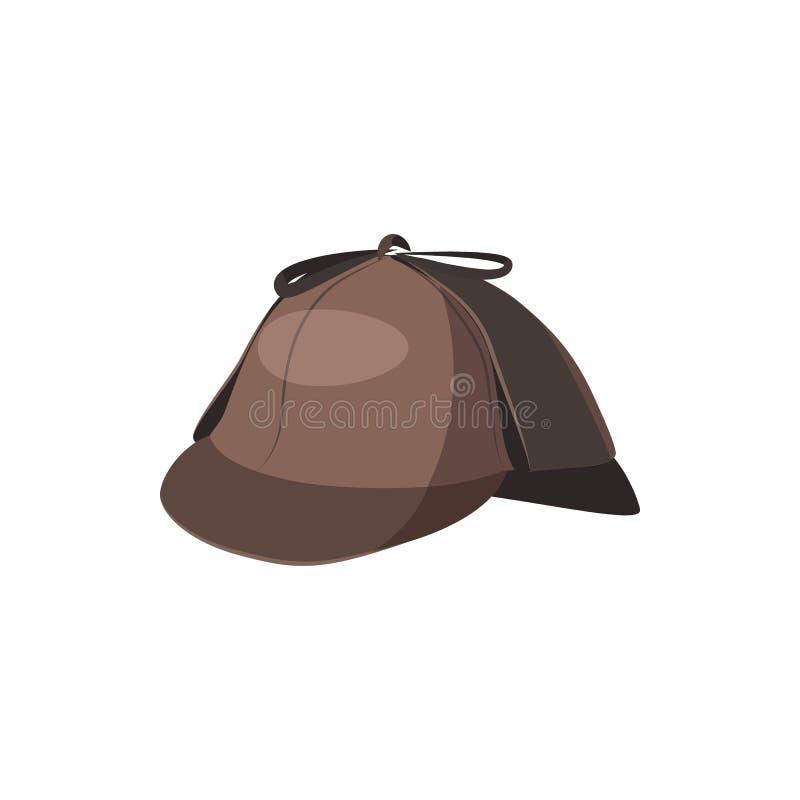 Εικονίδιο καπέλων Sherlock Holmes ιδιωτικών αστυνομικών, ύφος κινούμενων σχεδίων διανυσματική απεικόνιση