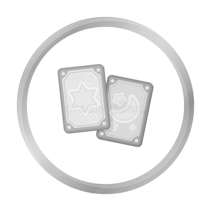 Εικονίδιο καρτών Tarot στο μονοχρωματικό ύφος που απομονώνεται στο άσπρο υπόβαθρο Γραπτό μαγικό διάνυσμα αποθεμάτων συμβόλων απεικόνιση αποθεμάτων
