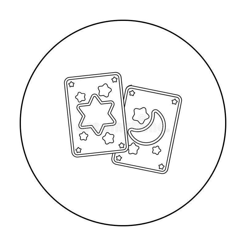 Εικονίδιο καρτών Tarot στο ύφος περιλήψεων που απομονώνεται στο άσπρο υπόβαθρο Γραπτή μαγική διανυσματική απεικόνιση αποθεμάτων σ απεικόνιση αποθεμάτων