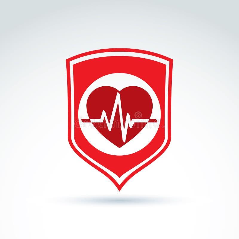 Εικονίδιο καρδιογραφημάτων καρδιών προστασίας καρδιολογίας, καρδιο ελεύθερη απεικόνιση δικαιώματος
