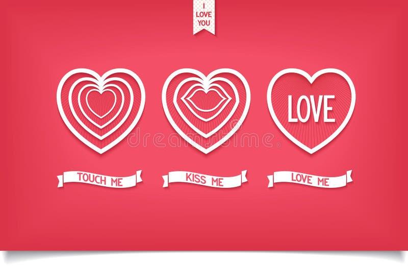 Εικονίδιο καρδιών σχεδίου με την αγάπη μηνυμάτων διανυσματική απεικόνιση