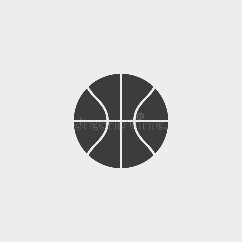 Εικονίδιο καλαθοσφαίρισης σε ένα επίπεδο σχέδιο στο μαύρο χρώμα Διανυσματική απεικόνιση EPS10 απεικόνιση αποθεμάτων