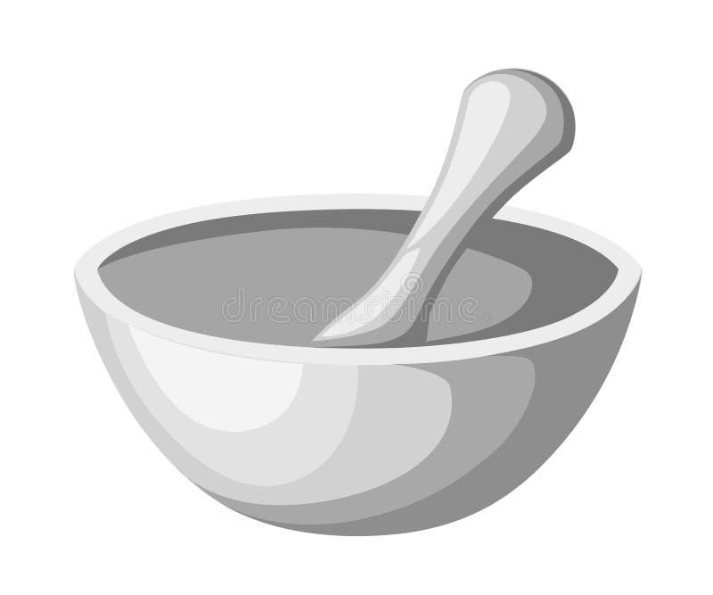 Εικονίδιο κονιάματος και γουδοχεριών, pounder κουζινών περίληψη και γεμισμένο πλήρους εικονόγραμμα σημαδιών και που απομονώνονται ελεύθερη απεικόνιση δικαιώματος