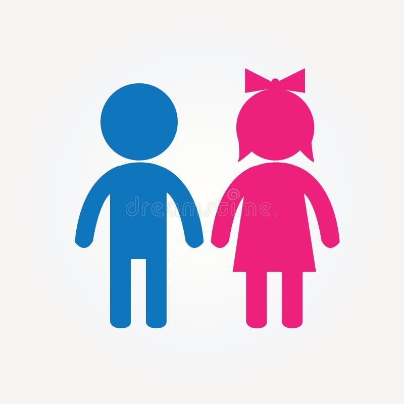 Εικονίδιο κοριτσιών και αγοριών σε δίχρωμο απεικόνιση αποθεμάτων