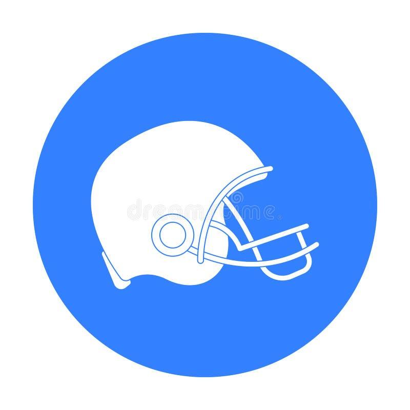 Εικονίδιο κρανών αμερικανικού ποδοσφαίρου στο μαύρο ύφος που απομονώνεται στο άσπρο υπόβαθρο Διανυσματική απεικόνιση αποθεμάτων σ διανυσματική απεικόνιση