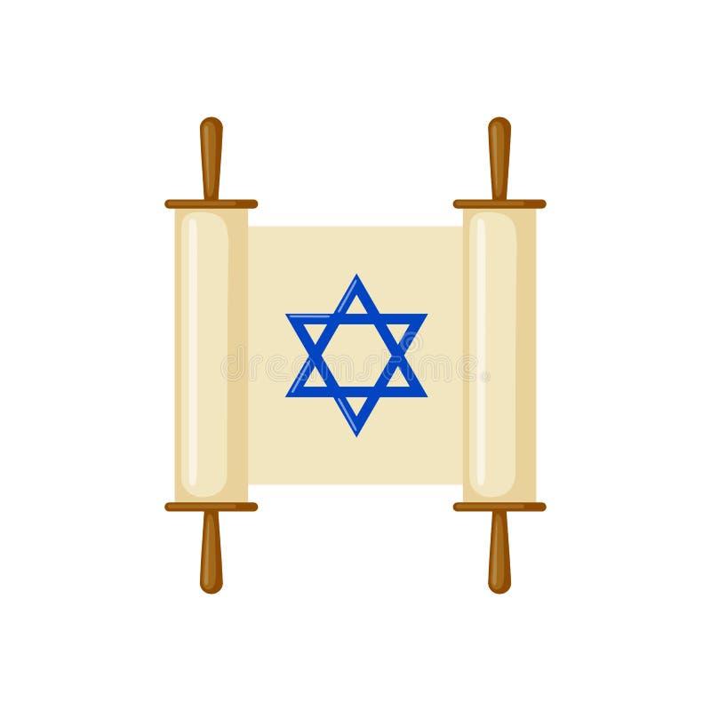 Εικονίδιο κυλίνδρων Torah στο επίπεδο ύφος απεικόνιση αποθεμάτων